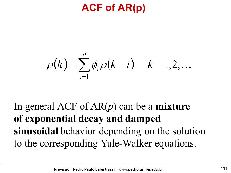 ACF of AR(p) In general ACF of AR(p) can be a mixture.