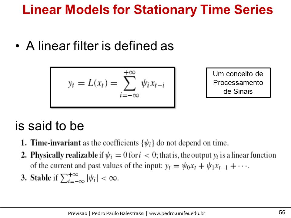 Linear Models for Stationary Time Series
