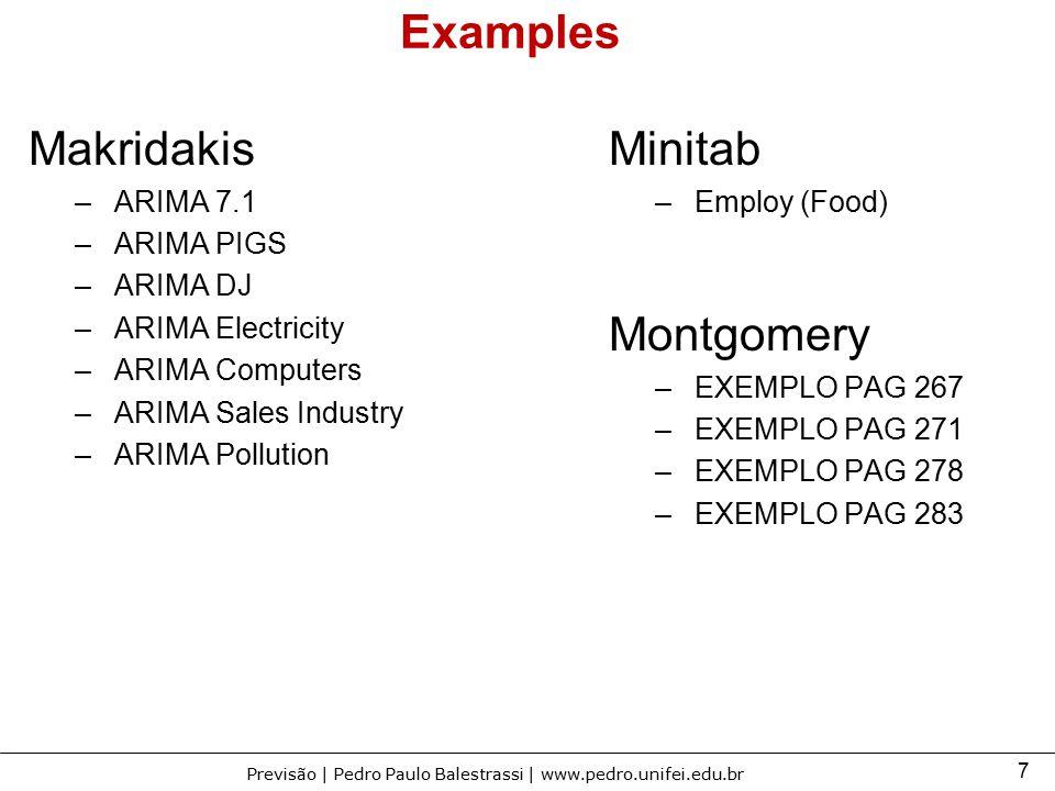 Examples Makridakis Minitab Montgomery ARIMA 7.1 ARIMA PIGS ARIMA DJ