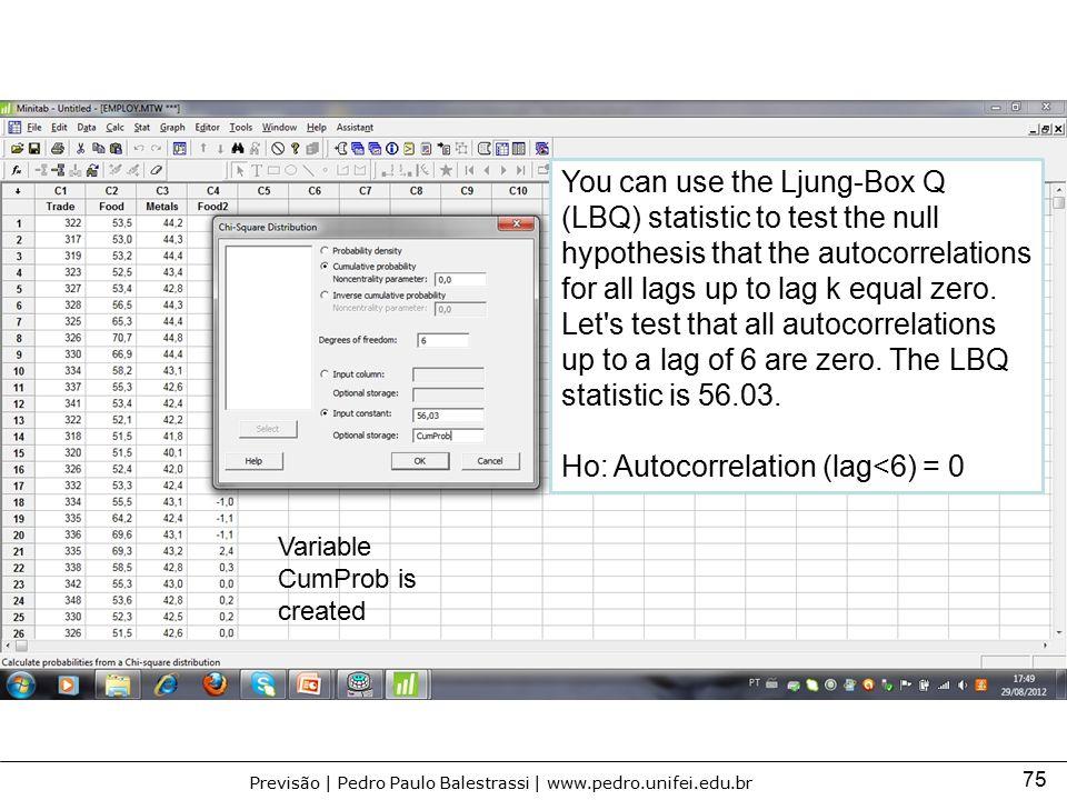 Ho: Autocorrelation (lag<6) = 0