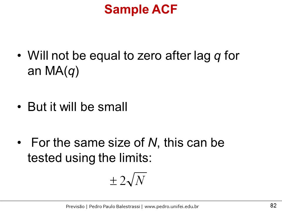 Sample ACF Will not be equal to zero after lag q for an MA(q) But it will be small.