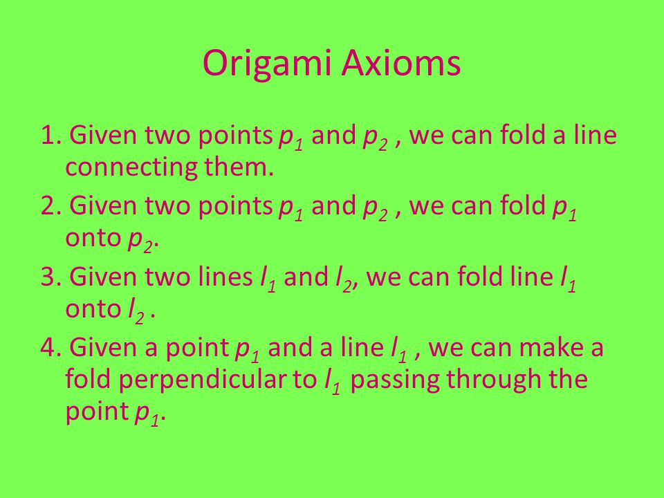 Origami Axioms