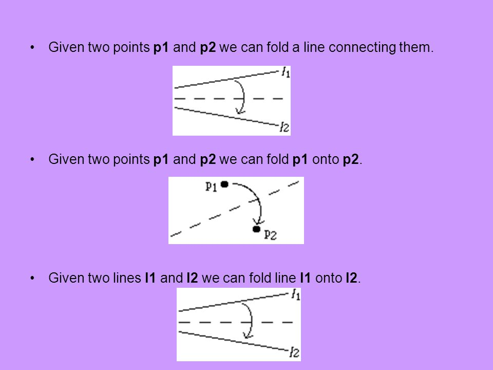 Given two points p1 and p2 we can fold a line connecting them.