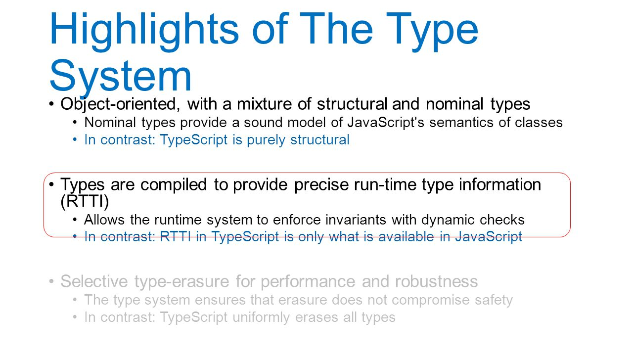 Highlights of The Type System