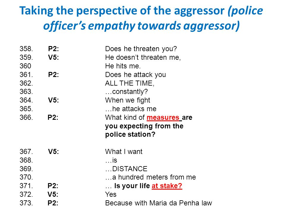 Taking the perspective of the aggressor (police officer's empathy towards aggressor)