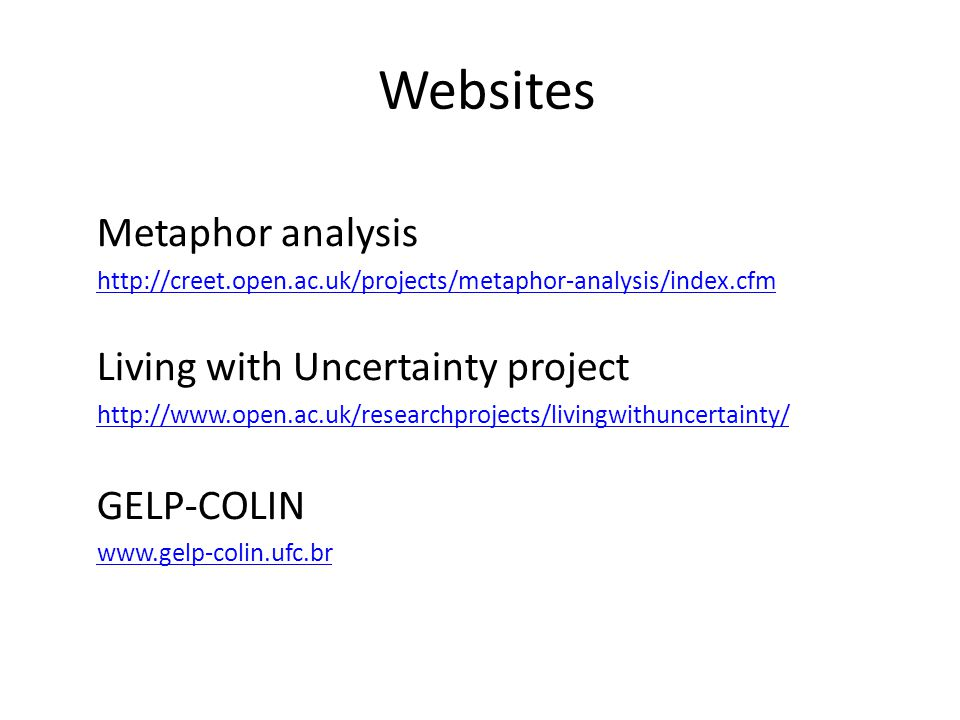 Websites Metaphor analysis Living with Uncertainty project GELP-COLIN