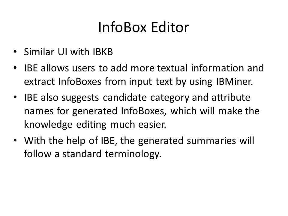 InfoBox Editor Similar UI with IBKB