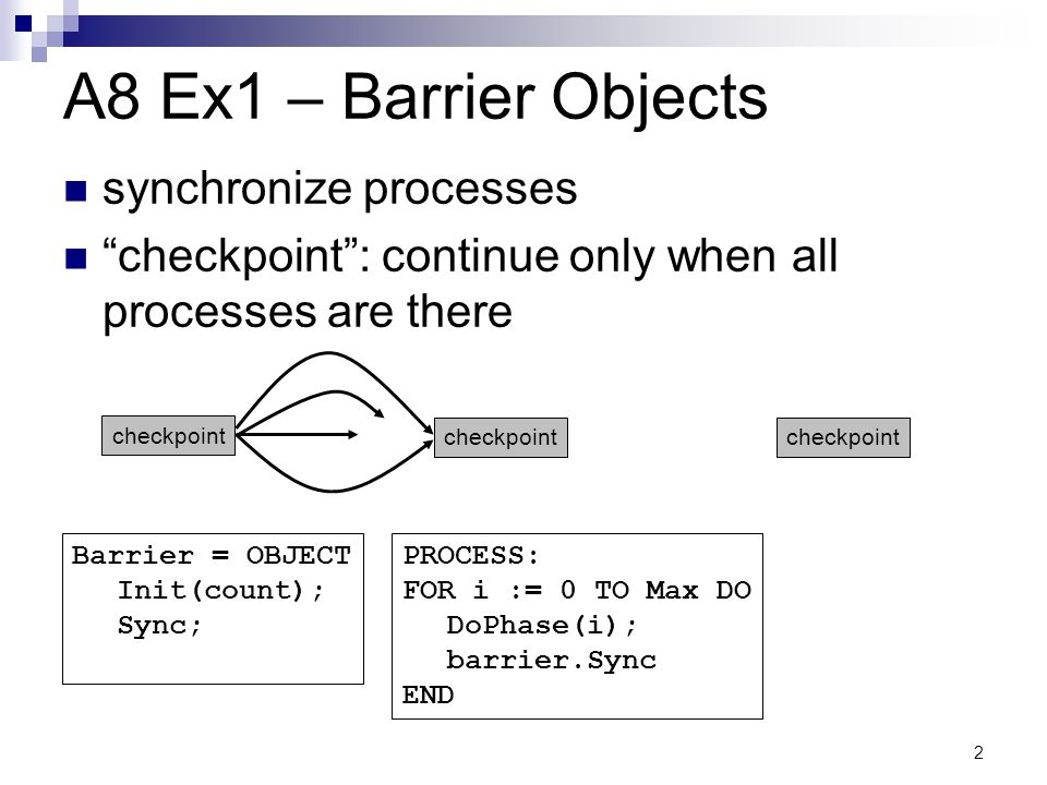 A8 Ex1 – Barrier Objects synchronize processes