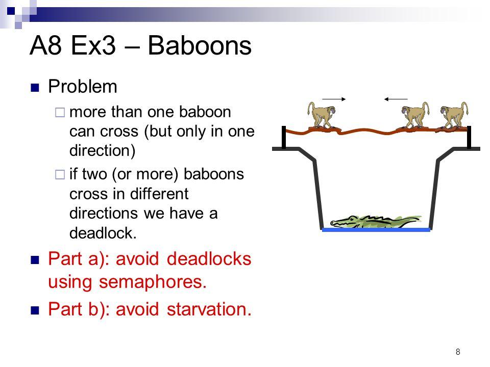 A8 Ex3 – Baboons Problem Part a): avoid deadlocks using semaphores.