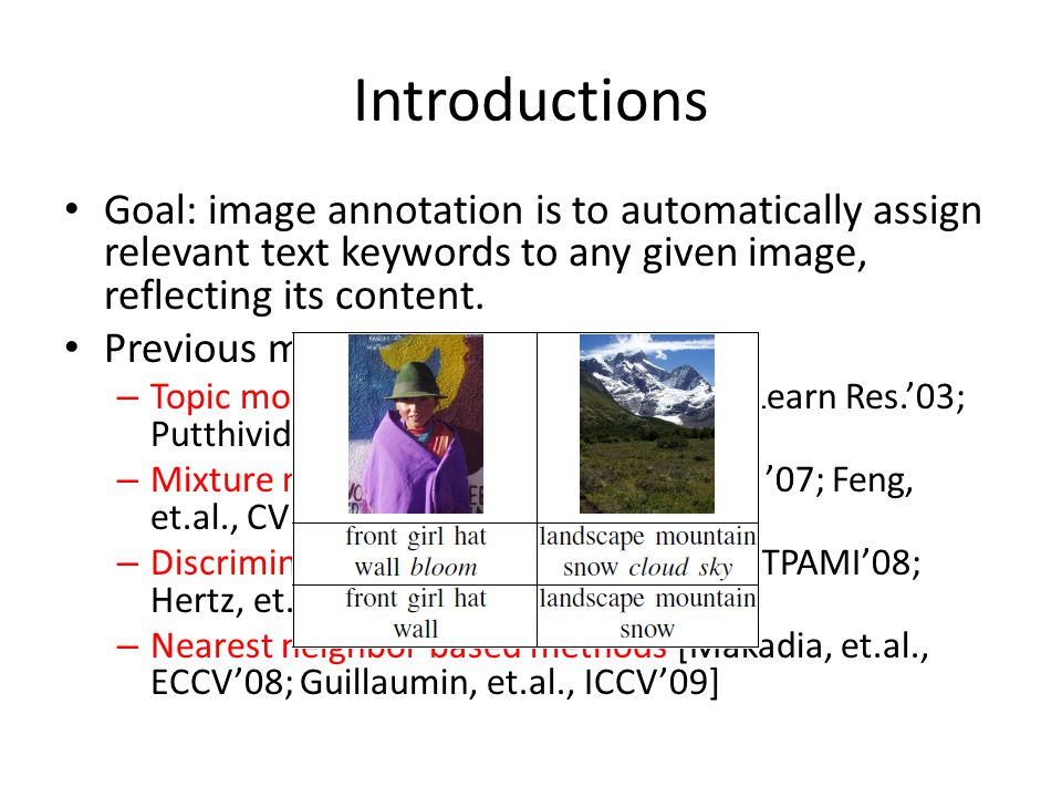 Introductions Goal: image annotation is to automatically assign relevant text keywords to any given image, reflecting its content.
