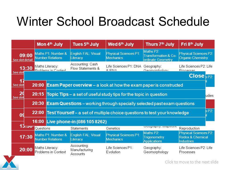 Winter School Broadcast Schedule
