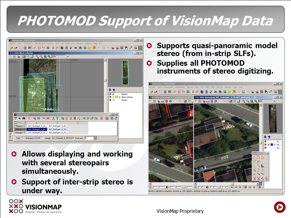 PHOTOMOD Support of VisionMap Data