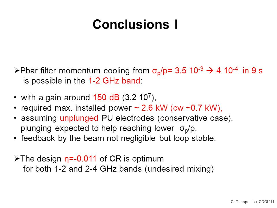Conclusions I Pbar filter momentum cooling from σp/p= 3.5 10-3  4 10-4 in 9 s. is possible in the 1-2 GHz band: