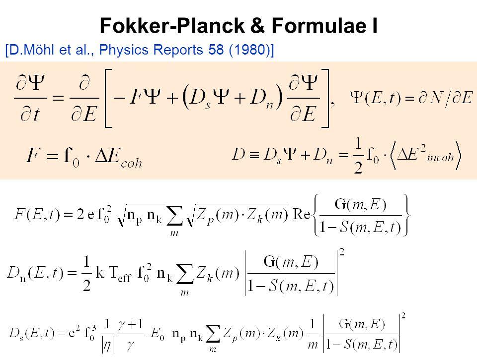 Fokker-Planck & Formulae I