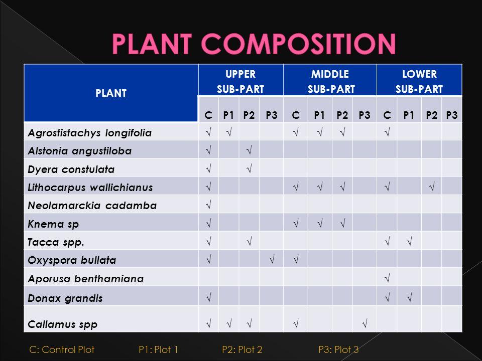 PLANT COMPOSITION PLANT UPPER SUB-PART MIDDLE LOWER C P1 P2 P3