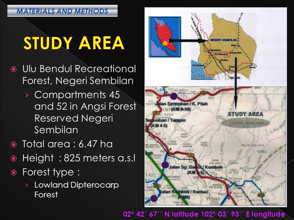 STUDY AREA Ulu Bendul Recreational Forest, Negeri Sembilan
