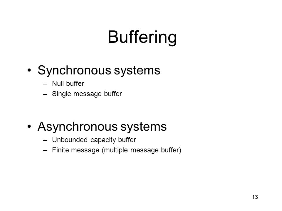 Buffering Synchronous systems Asynchronous systems Null buffer