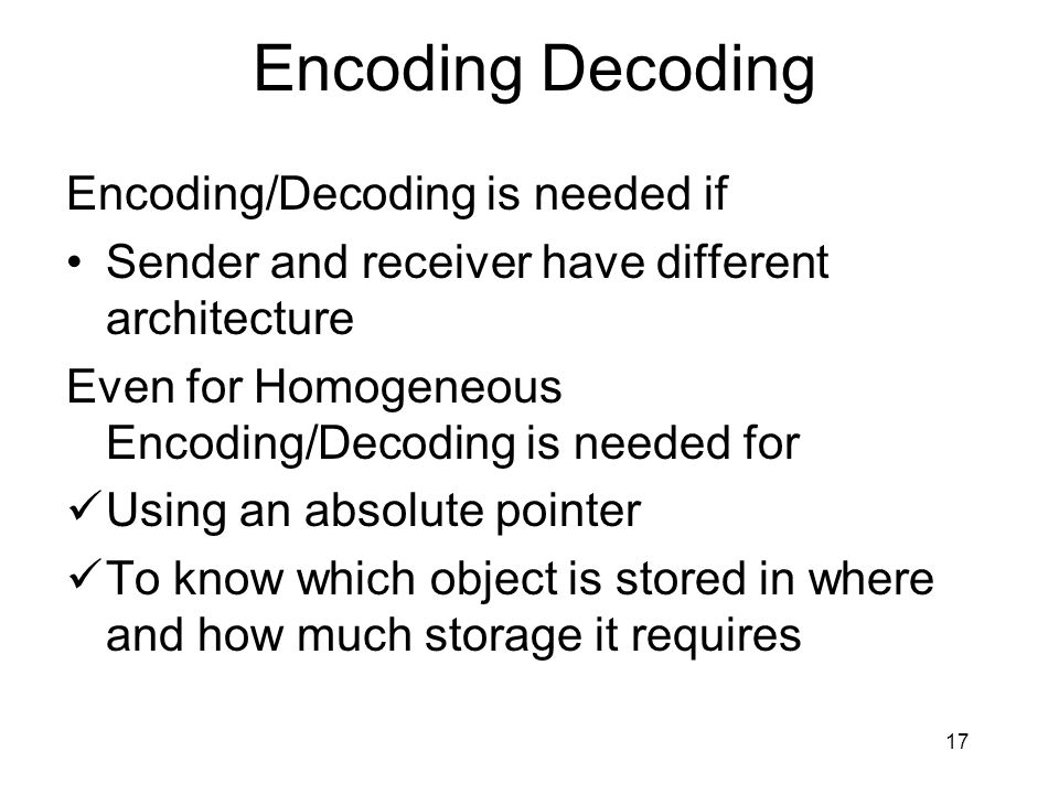 Encoding Decoding Encoding/Decoding is needed if