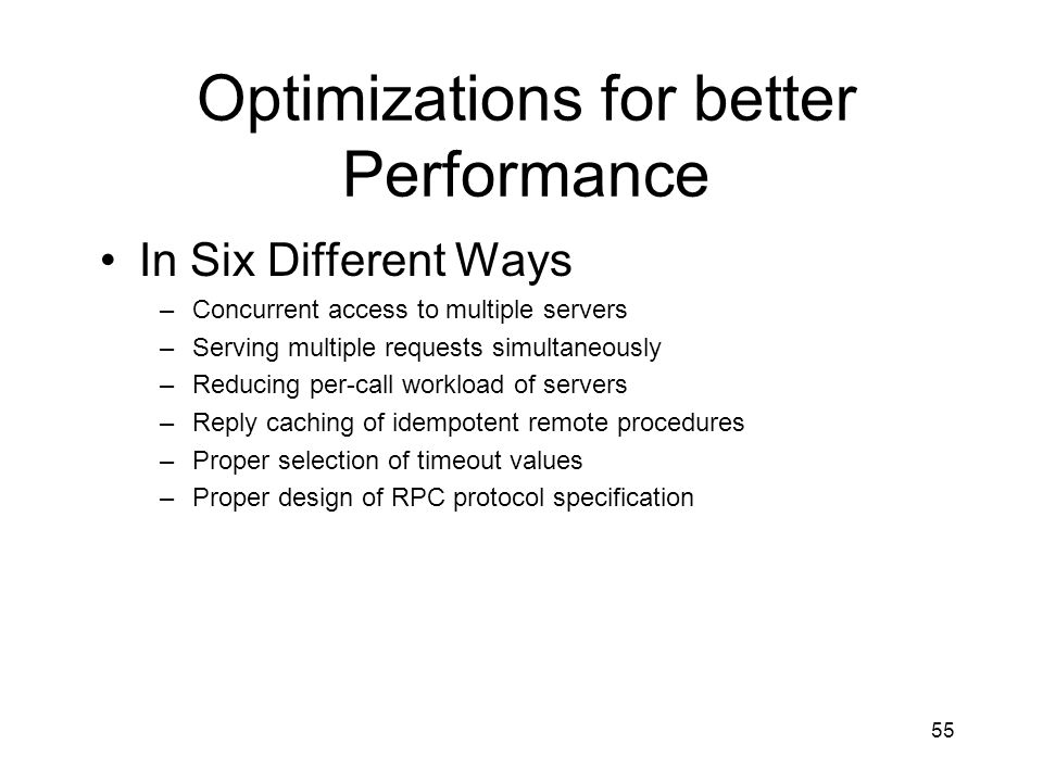 Optimizations for better Performance