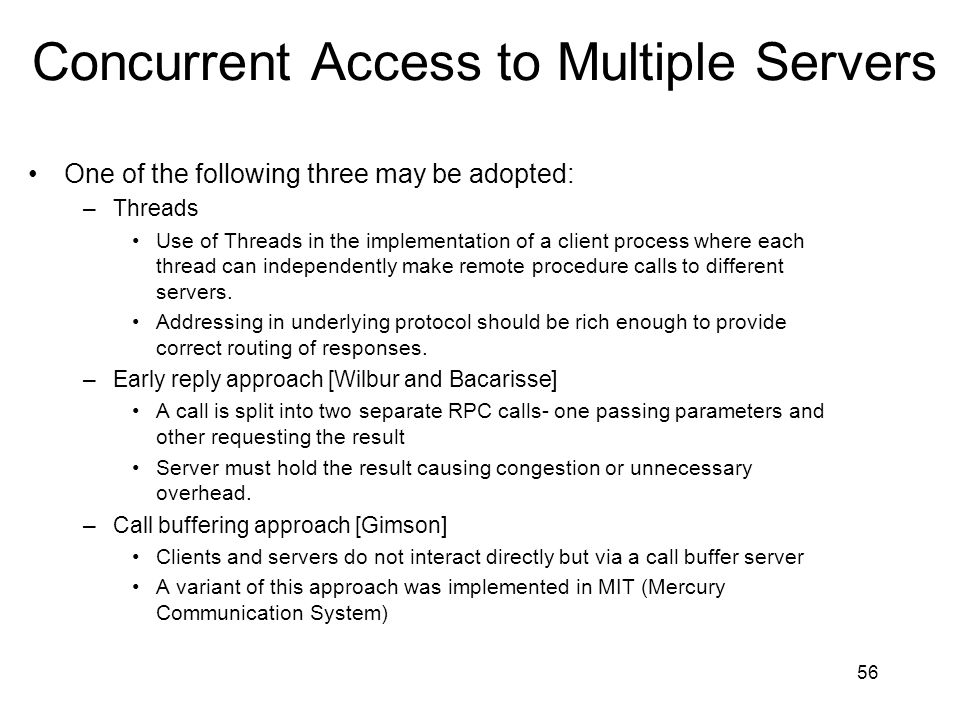 Concurrent Access to Multiple Servers