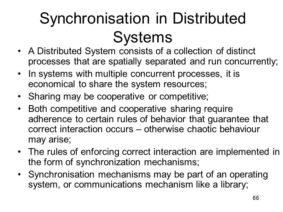 Synchronisation in Distributed Systems