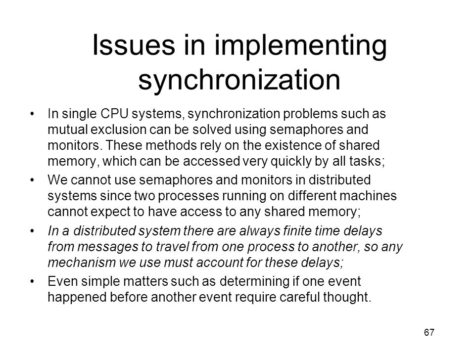 Issues in implementing synchronization