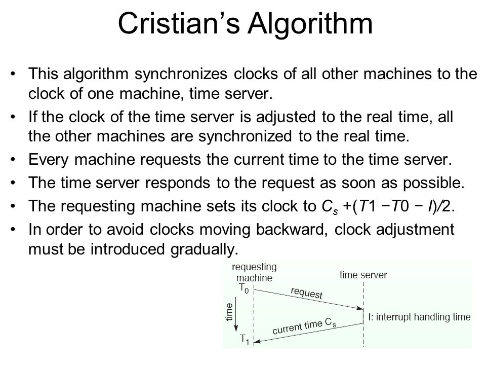 Cristian's Algorithm This algorithm synchronizes clocks of all other machines to the clock of one machine, time server.