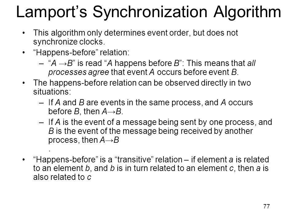 Lamport's Synchronization Algorithm