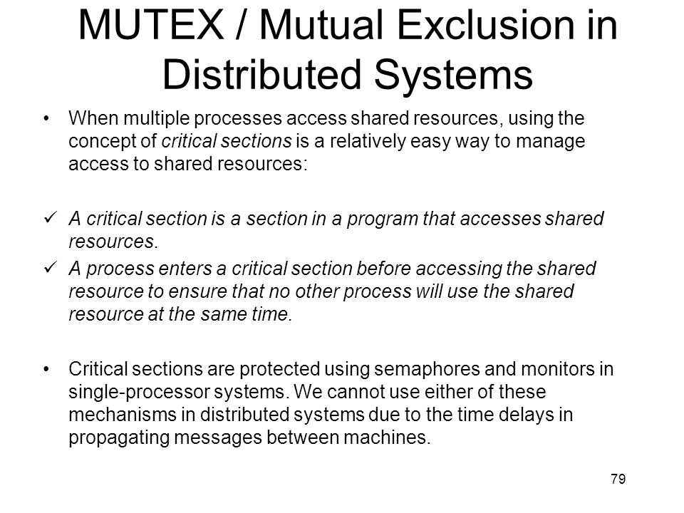 MUTEX / Mutual Exclusion in Distributed Systems