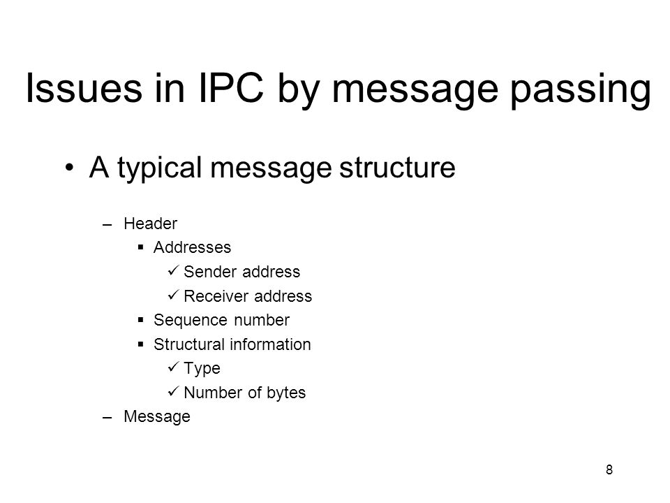 Issues in IPC by message passing