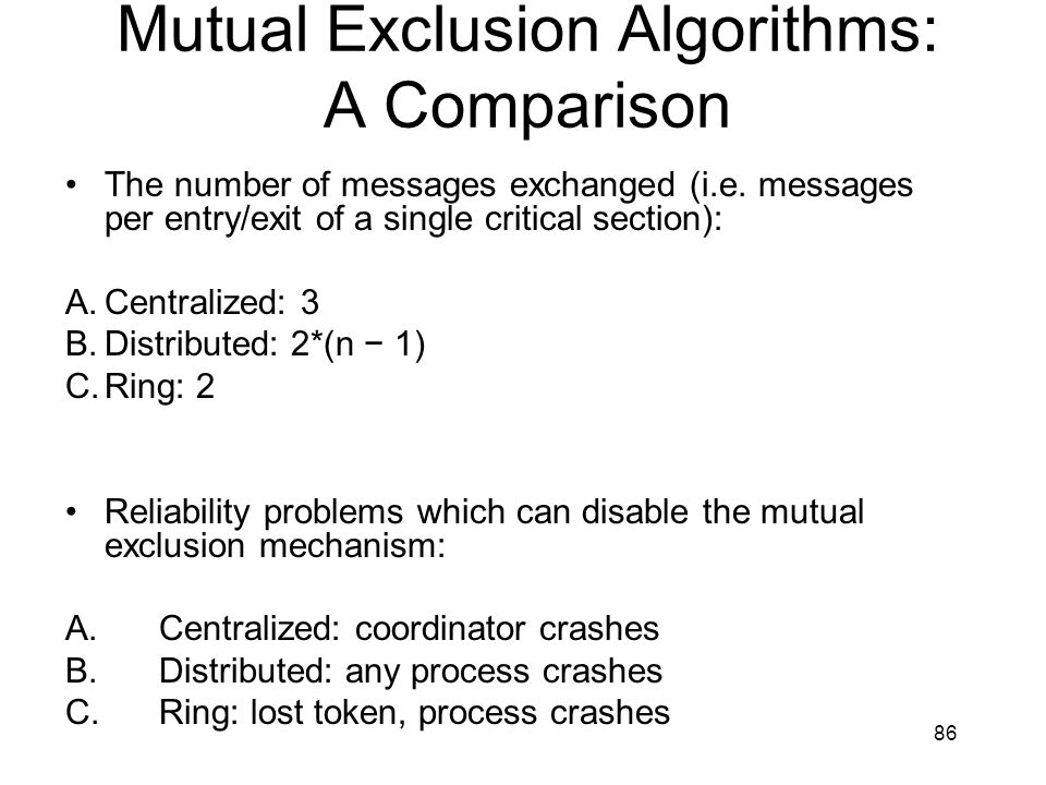 Mutual Exclusion Algorithms: A Comparison