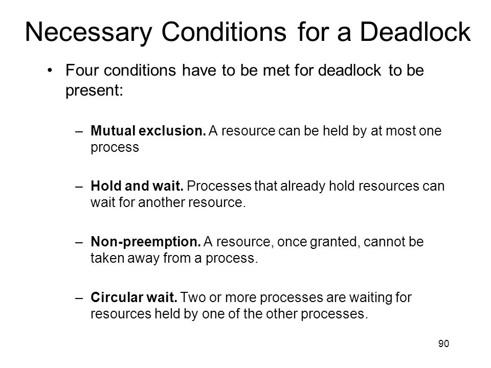 Necessary Conditions for a Deadlock