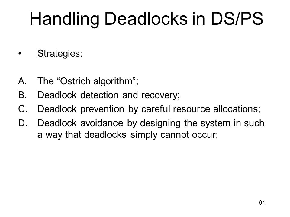 Handling Deadlocks in DS/PS