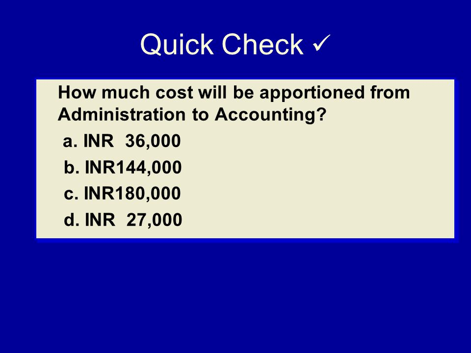 Quick Check  How much cost will be apportioned from Administration to Accounting a. INR 36,000.