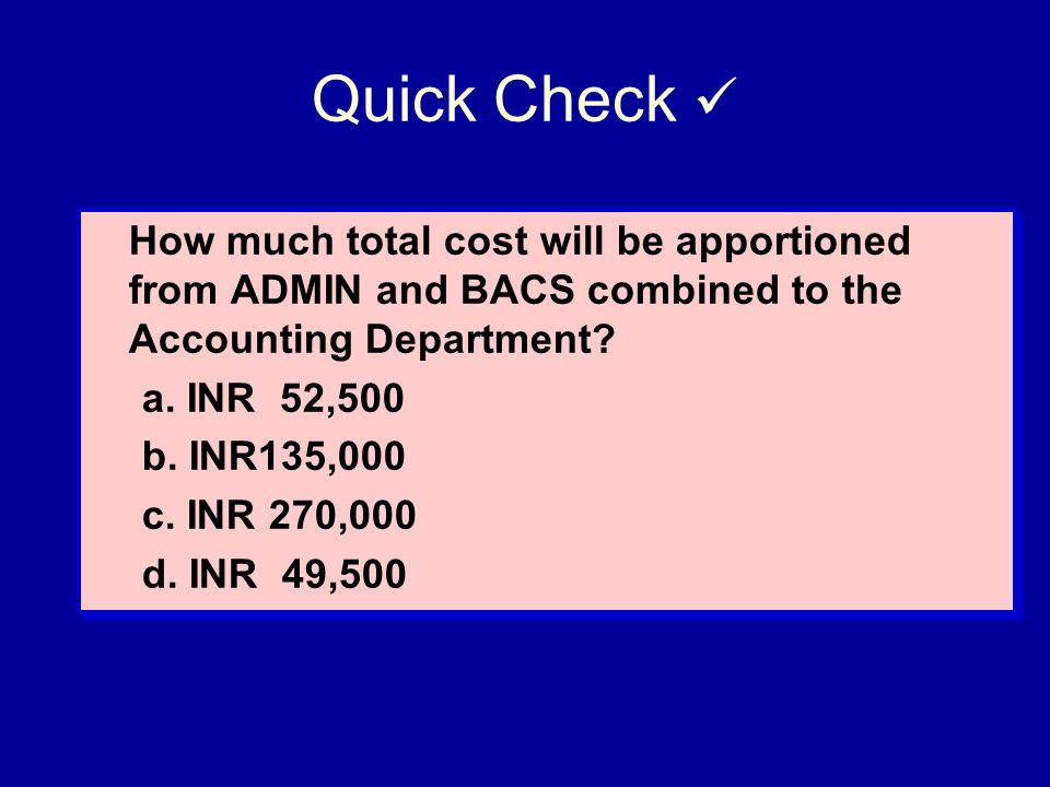 Quick Check  How much total cost will be apportioned from ADMIN and BACS combined to the Accounting Department
