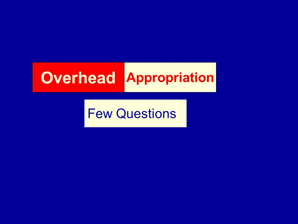 Overhead Appropriation Few Questions