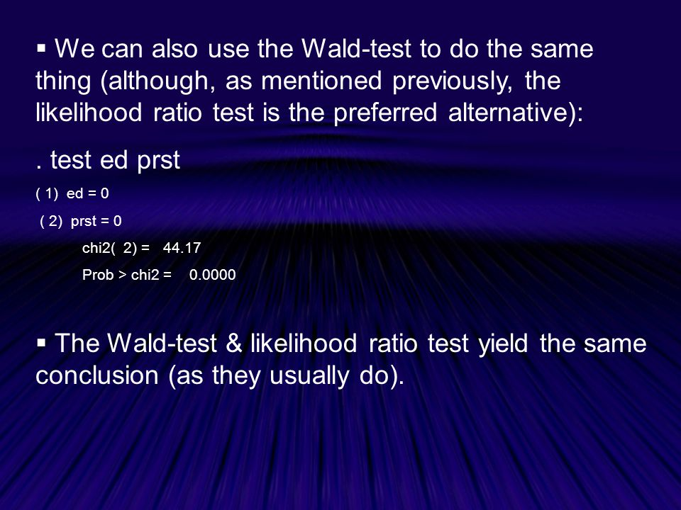 We can also use the Wald-test to do the same thing (although, as mentioned previously, the likelihood ratio test is the preferred alternative):