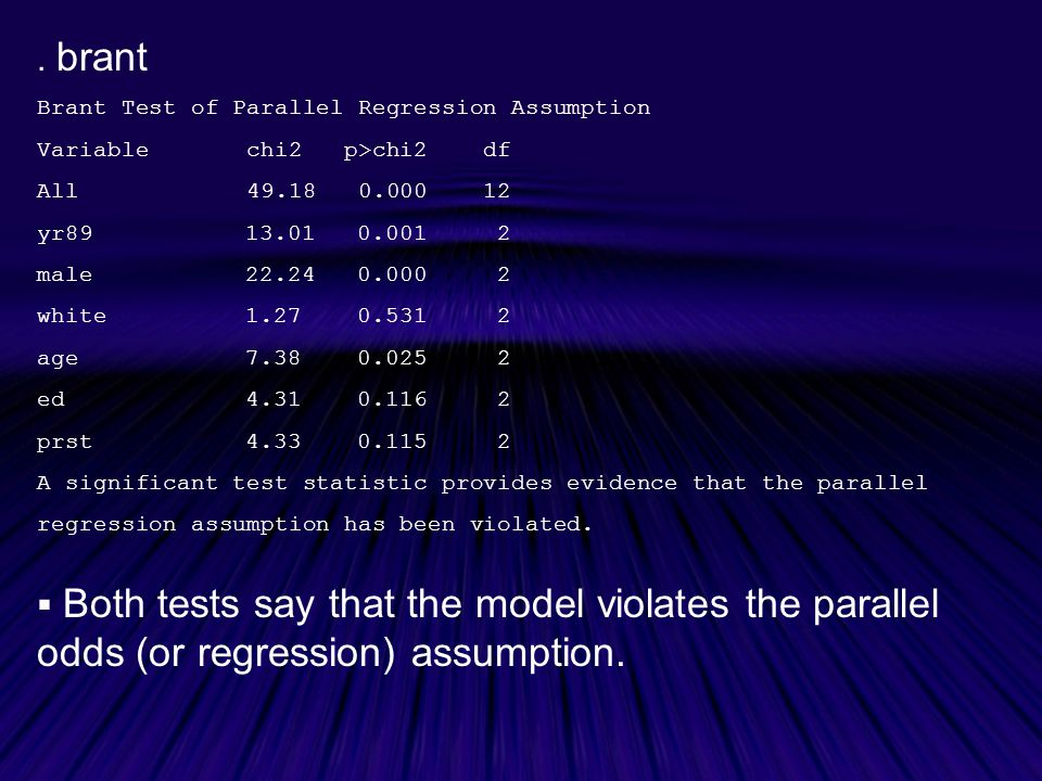 . brant Brant Test of Parallel Regression Assumption. Variable chi2 p>chi2 df. All 49.18 0.000 12.
