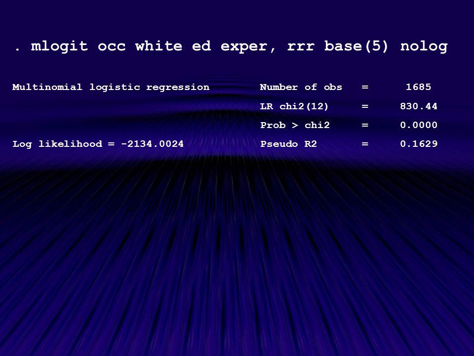 . mlogit occ white ed exper, rrr base(5) nolog