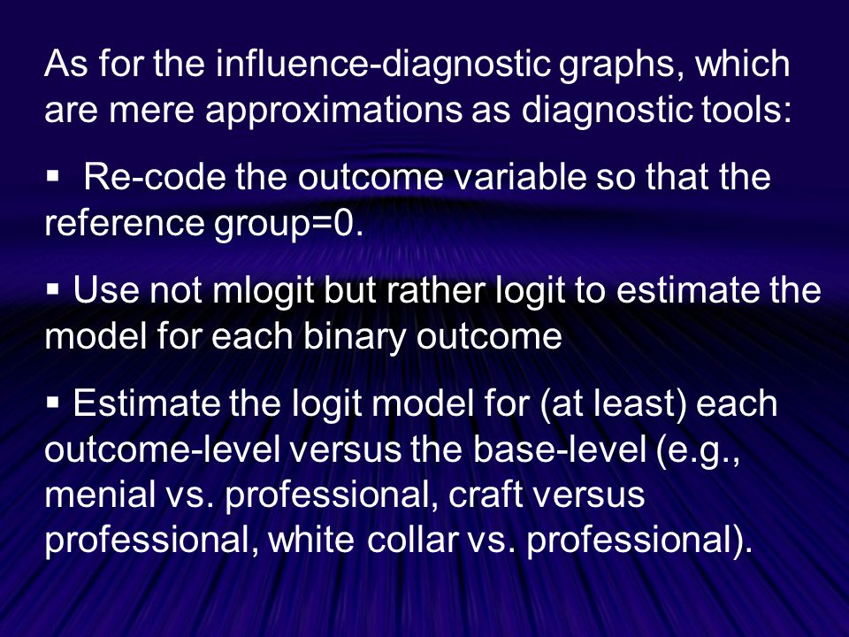 As for the influence-diagnostic graphs, which are mere approximations as diagnostic tools: