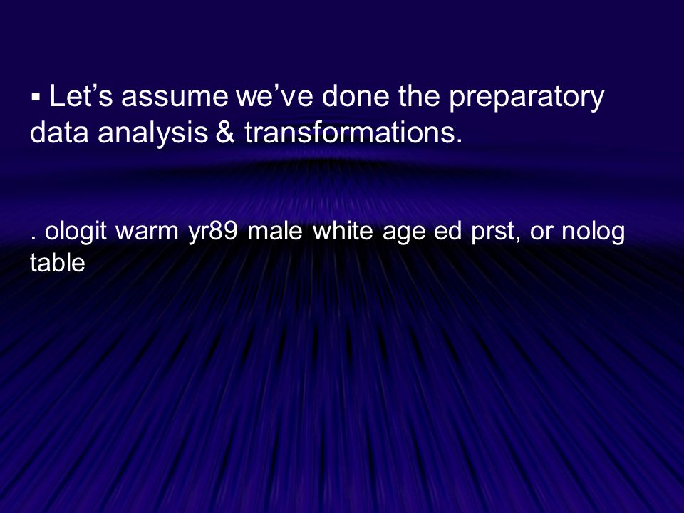 Let's assume we've done the preparatory data analysis & transformations.