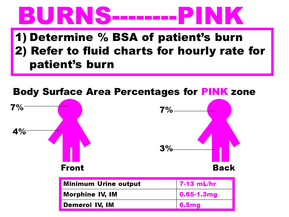 BURNS--------PINK Determine % BSA of patient's burn