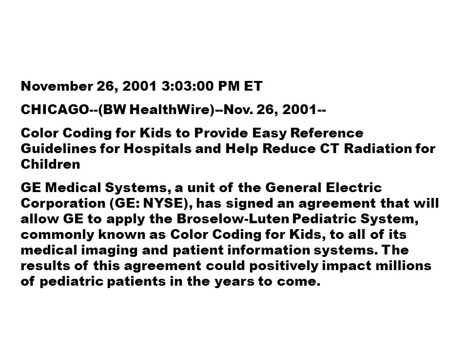 November 26, 2001 3:03:00 PM ET CHICAGO--(BW HealthWire)--Nov. 26, 2001--