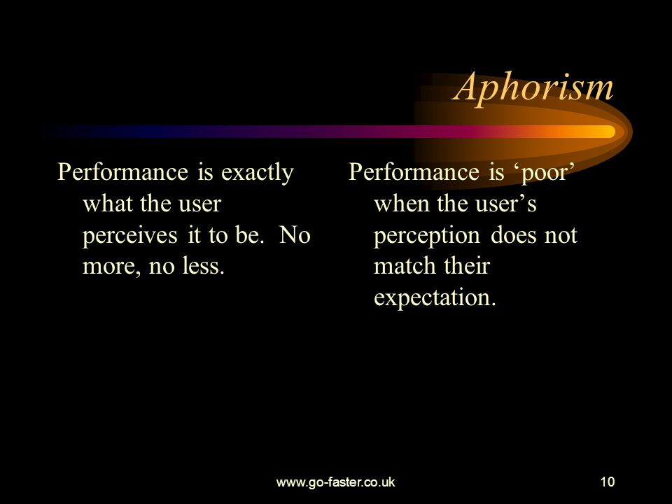 Aphorism Performance is exactly what the user perceives it to be. No more, no less.