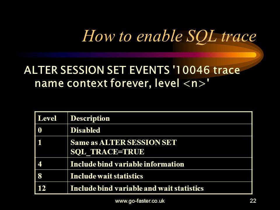 How to enable SQL trace ALTER SESSION SET EVENTS trace name context forever, level <n> Level.