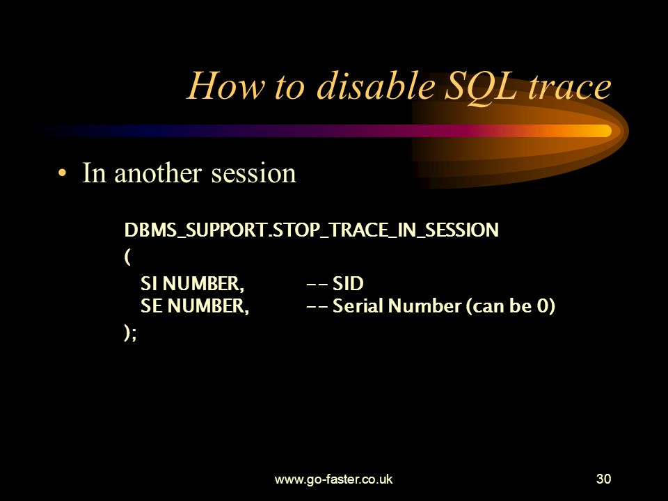 How to disable SQL trace