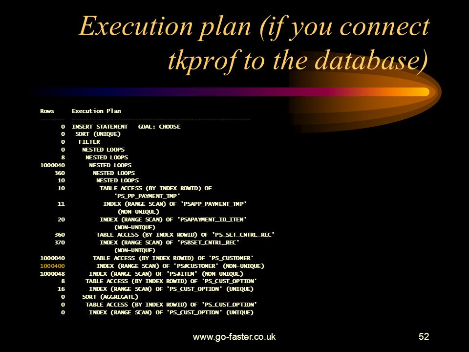 Execution plan (if you connect tkprof to the database)