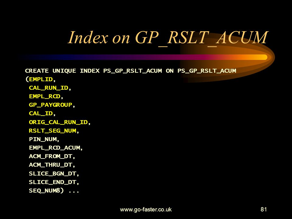 Index on GP_RSLT_ACUM CREATE UNIQUE INDEX PS_GP_RSLT_ACUM ON PS_GP_RSLT_ACUM. (EMPLID, CAL_RUN_ID,