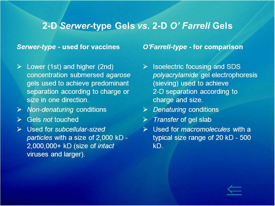 2-D Serwer-type Gels vs. 2-D O' Farrell Gels
