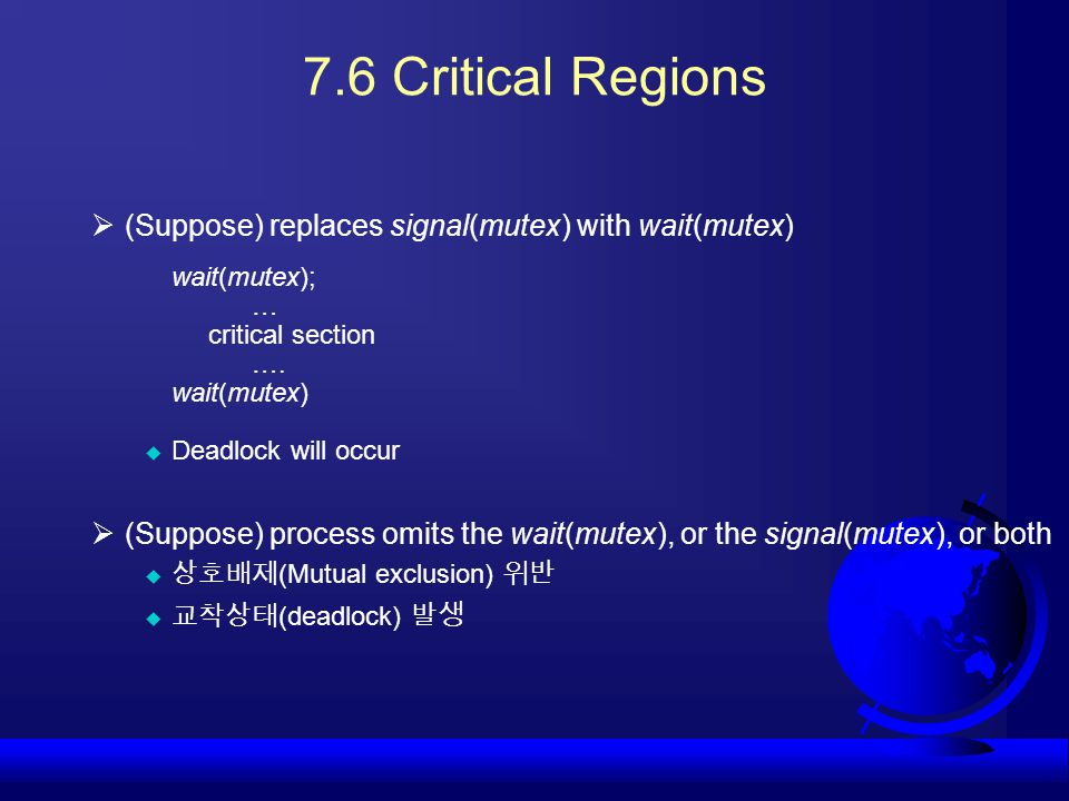 7.6 Critical Regions (Suppose) replaces signal(mutex) with wait(mutex)